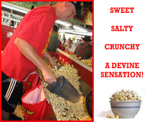 Worker scouping kettle corn. Sweet, salty, crunchy - a devine sensation.